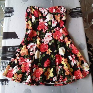 Strapless Floral Dress by Finesse